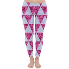 Triangle3 White Marble & Pink Marble Classic Winter Leggings by trendistuff