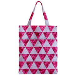 Triangle3 White Marble & Pink Marble Zipper Classic Tote Bag by trendistuff