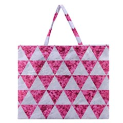 Triangle3 White Marble & Pink Marble Zipper Large Tote Bag by trendistuff