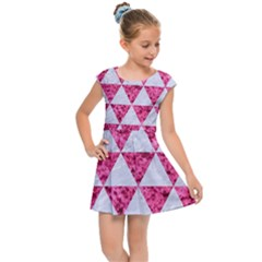 Triangle3 White Marble & Pink Marble Kids Cap Sleeve Dress by trendistuff