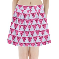 Triangle3 White Marble & Pink Marble Pleated Mini Skirt by trendistuff