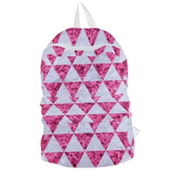 Triangle3 White Marble & Pink Marble Foldable Lightweight Backpack by trendistuff