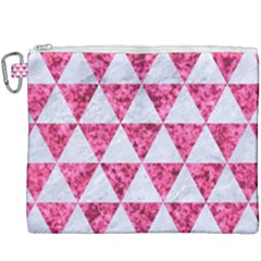Triangle3 White Marble & Pink Marble Canvas Cosmetic Bag (xxxl) by trendistuff