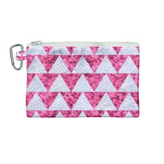 Triangle2 White Marble & Pink Marble Canvas Cosmetic Bag (medium)