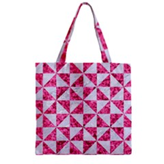 Triangle1 White Marble & Pink Marble Zipper Grocery Tote Bag by trendistuff