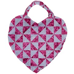 Triangle1 White Marble & Pink Marble Giant Heart Shaped Tote by trendistuff