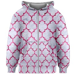 Tile1 White Marble & Pink Marble (r) Kids Zipper Hoodie Without Drawstring