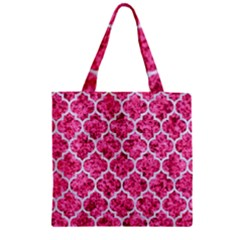 Tile1 White Marble & Pink Marble Zipper Grocery Tote Bag by trendistuff