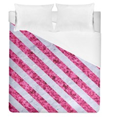 Stripes3 White Marble & Pink Marble Duvet Cover (queen Size) by trendistuff