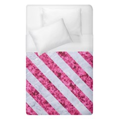 Stripes3 White Marble & Pink Marble Duvet Cover (single Size) by trendistuff