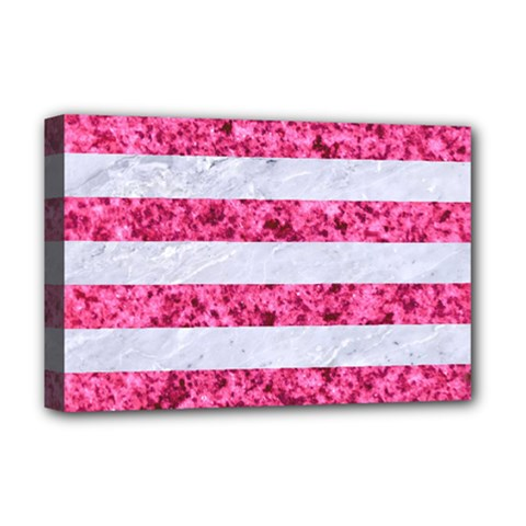 Stripes2white Marble & Pink Marble Deluxe Canvas 18  X 12   by trendistuff