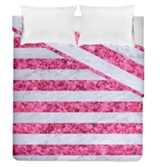 Stripes2white Marble & Pink Marble Duvet Cover Double Side (queen Size) by trendistuff