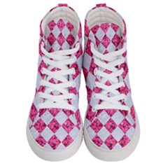 Square2 White Marble & Pink Marble Women s Hi Top Skate Sneakers