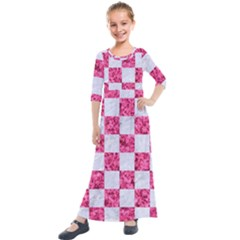Square1 White Marble & Pink Marble Kids  Quarter Sleeve Maxi Dress