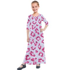 Skin5 White Marble & Pink Marble Kids  Quarter Sleeve Maxi Dress