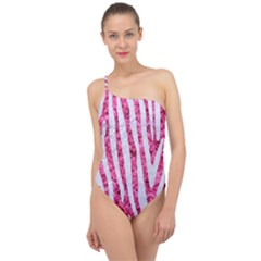 Skin4 White Marble & Pink Marble (r) Classic One Shoulder Swimsuit