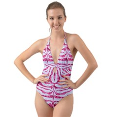 Skin2 White Marble & Pink Marble (r) Halter Cut Out One Piece Swimsuit