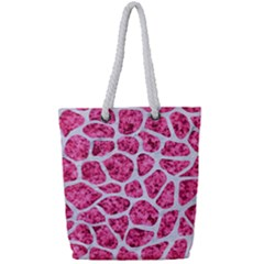 Skin1 White Marble & Pink Marble (r) Full Print Rope Handle Tote (small) by trendistuff