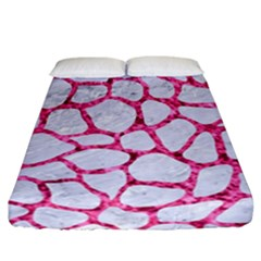Skin1 White Marble & Pink Marble Fitted Sheet (california King Size) by trendistuff