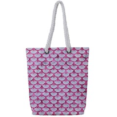 Scales3 White Marble & Pink Marble (r) Full Print Rope Handle Tote (small) by trendistuff