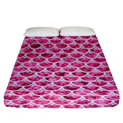 Scales3 White Marble & Pink Marble Fitted Sheet (california King Size) by trendistuff