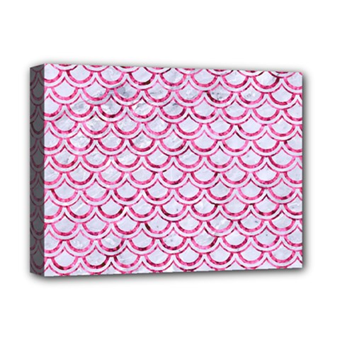 Scales2 White Marble & Pink Marble (r) Deluxe Canvas 16  X 12   by trendistuff