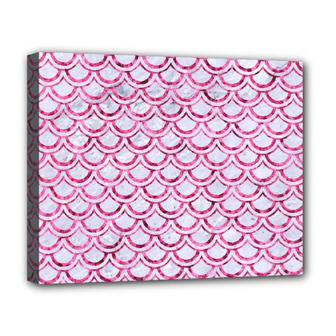 Scales2 White Marble & Pink Marble (r) Deluxe Canvas 20  X 16   by trendistuff