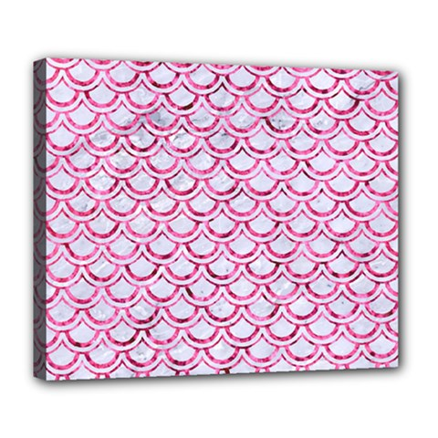 Scales2 White Marble & Pink Marble (r) Deluxe Canvas 24  X 20   by trendistuff