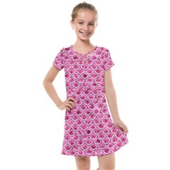 Scales2 White Marble & Pink Marble Kids  Cross Web Dress