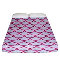 Scales1 White Marble & Pink Marble (r) Fitted Sheet (king Size) by trendistuff