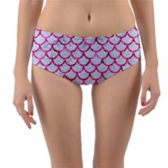Scales1 White Marble & Pink Marble (r) Reversible Mid Waist Bikini Bottoms