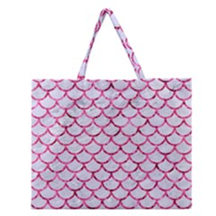 Scales1 White Marble & Pink Marble (r) Zipper Large Tote Bag by trendistuff