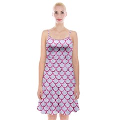 Scales1 White Marble & Pink Marble (r) Spaghetti Strap Velvet Dress by trendistuff