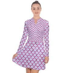 Scales1 White Marble & Pink Marble (r) Long Sleeve Panel Dress by trendistuff