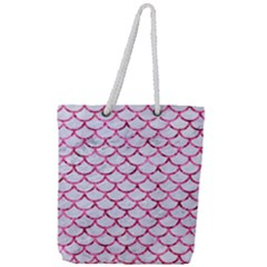 Scales1 White Marble & Pink Marble (r) Full Print Rope Handle Tote (large) by trendistuff