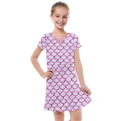 Scales1 White Marble & Pink Marble (r) Kids  Cross Web Dress
