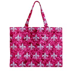 Royal1 White Marble & Pink Marble (r) Zipper Mini Tote Bag by trendistuff