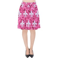 Royal1 White Marble & Pink Marble (r) Velvet High Waist Skirt by trendistuff