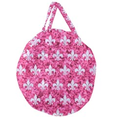 Royal1 White Marble & Pink Marble (r) Giant Round Zipper Tote by trendistuff