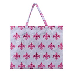 Royal1 White Marble & Pink Marble Zipper Large Tote Bag by trendistuff