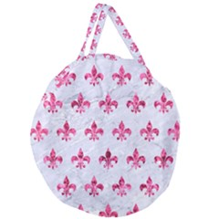Royal1 White Marble & Pink Marble Giant Round Zipper Tote by trendistuff