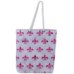 Royal1 White Marble & Pink Marble Full Print Rope Handle Tote (large)