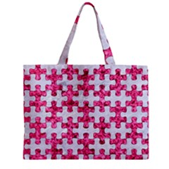 Puzzle1 White Marble & Pink Marble Zipper Mini Tote Bag by trendistuff