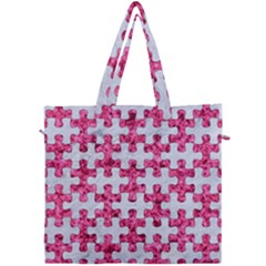 Puzzle1 White Marble & Pink Marble Canvas Travel Bag by trendistuff