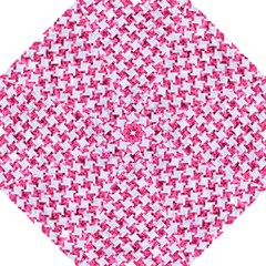 Houndstooth2 White Marble & Pink Marble Hook Handle Umbrellas (large) by trendistuff