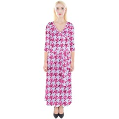 Houndstooth1 White Marble & Pink Marble Quarter Sleeve Wrap Maxi Dress