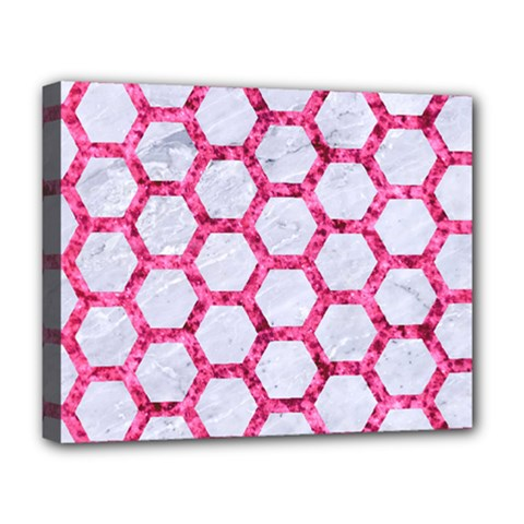 Hexagon2 White Marble & Pink Marble (r) Deluxe Canvas 20  X 16