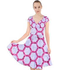 Hexagon2 White Marble & Pink Marble (r) Cap Sleeve Front Wrap Midi Dress