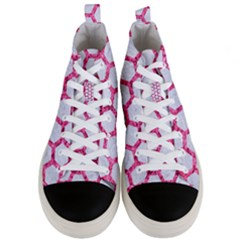 Hexagon2 White Marble & Pink Marble (r) Men s Mid Top Canvas Sneakers