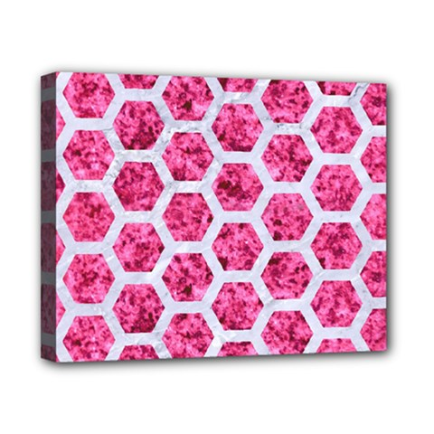Hexagon2 White Marble & Pink Marble Canvas 10  X 8  by trendistuff